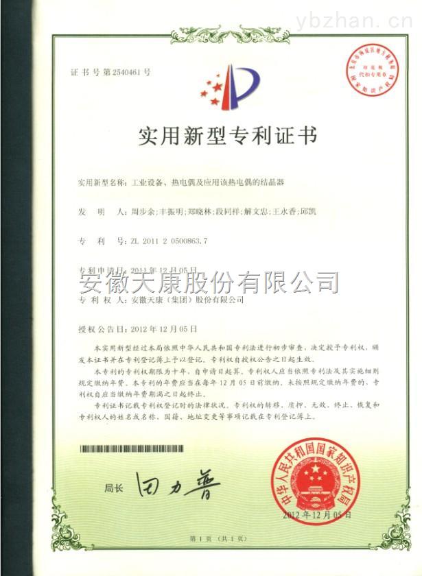 实用新型证书(工业设备 热电偶及应用该热电偶的结晶器)