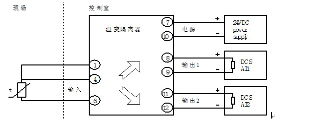 备注:隔离器到热电阻之间的连线必须使用同种导线且长度一致,导线电阻值不一致将增大测量误差。 1入1出型号,11、12脚悬空不接。 苏州迅鹏仪器仪表有限公司 电话:0512-68381939 / 0512-68381802 / 0512-68381872 传真:0512-68381803 手机:18962116539 苏州市桐泾北路26-6号恒峰大厦 关键词:隔离器 大屏显示器 积算仪 巡检仪 友情链接: 信号隔离器: http://www.