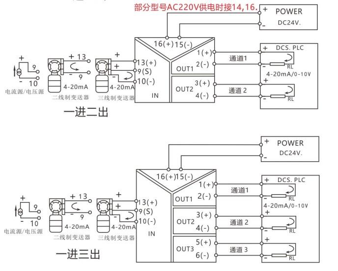 ws15242-246信号隔离器0-10v一进二出